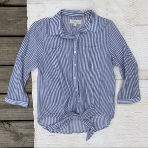 Olive & oak blue and white striped button down